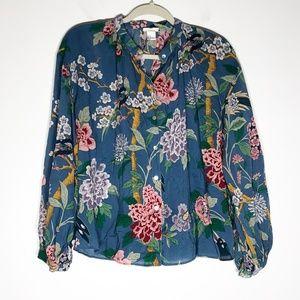 GP & J Baker + H& M Blouse Womens 2 Blue Floral